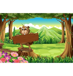 A beaver holding an empty signboard at the forest vector image