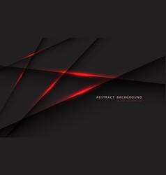 Abstract red light line on dark grey polygon vector