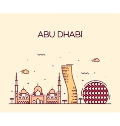 Abu Dhabi City skyline Trendy line art vector image