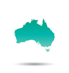 Australia map colorful turquoise on white vector
