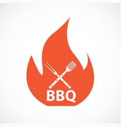 Bbq icon with grill tools vector