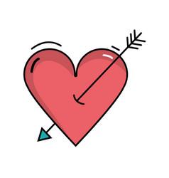 Beauty romantic heart with arrow design vector
