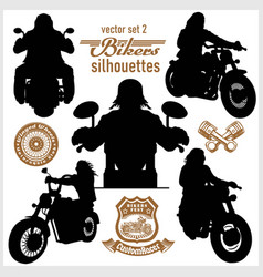 Biker motorcycle silhouettes - set vector
