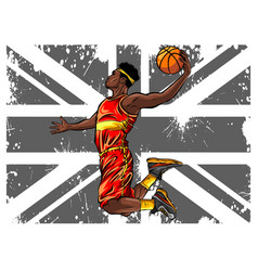 Black male basketball player running while vector
