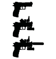 Black silhouettes handguns vector