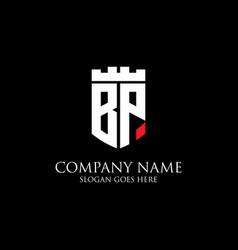 Bp initial shield logo design inspiration crown vector