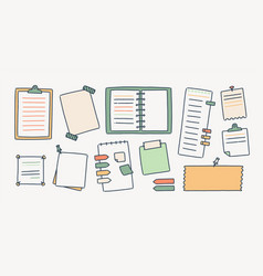 bundle of notepads and paper sheets attached with vector image