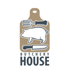 Butchery house logo label isolated on white vector