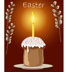 cake and candle at Easter vector image