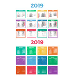 Calendar for 2019 on white vector