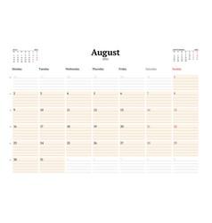 Calendar template for august 2021 business vector
