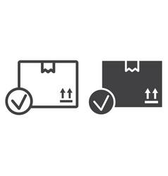 carton box with check mark line and glyph icon vector image