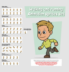 Cartoon boy character animation sprites sheet set vector
