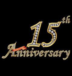 Celebrating 15th anniversary golden sign vector