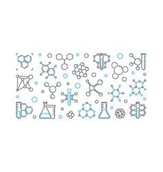 Chemical linear banner outline horizontal vector