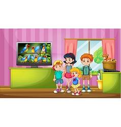 Children watching tv in the room vector