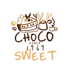 Choco sweets shop hand drawn original logo design vector