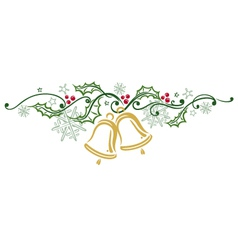 Christmas holly bells vector