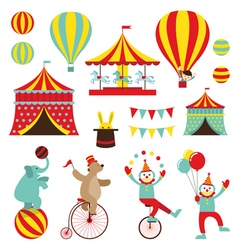 Circus Objects Flat Icons Set vector