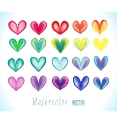 Colorful watercolor hearts set vector image
