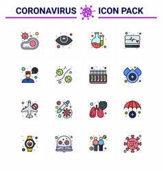 corona virus disease 16 flat color filled line vector image