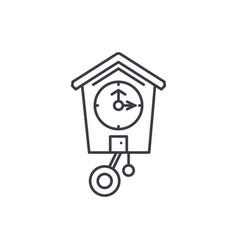 cuckoo clock line icon concept cuckoo clock vector image
