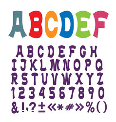Cute funny alphabet lettersnumbers and vector