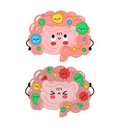 Cute funny intestine organ character healthy vector