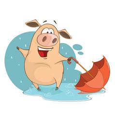 Cute pig cartoon character vector