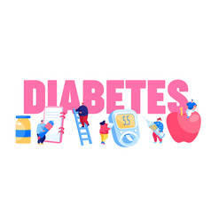 Diabetes sickness concept people characters with vector