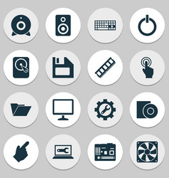 Digital icons set with disc touchscreen vector
