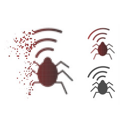 Dissolved dot halftone radio bug icon vector