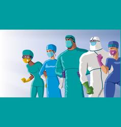 Doctors heroes team dawn vector