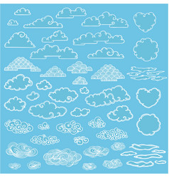 Doodle elegant white clouds collection vector