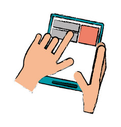 Drawing hand touch tablet web page vector