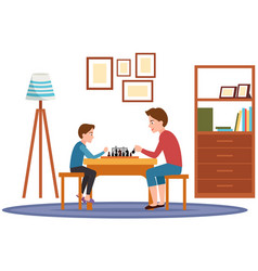 Father and little son sitting at table and playing vector
