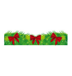 fir with christmas red bow icon vector image