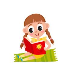 Flat girl sitting at carpet reading book vector