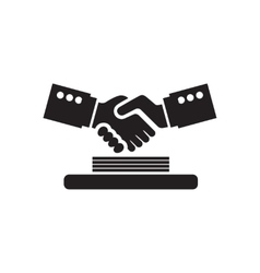 Flat icon in black and white handshake documents vector
