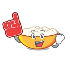 Foam finger cottage cheese mascot cartoon vector