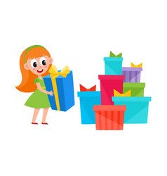 Girl holding present box and pile of many gifts vector