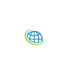 globe earth orbit technology logo vector image