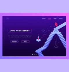 Goal achievement - modern isometric website vector