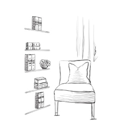 Hand drawn room interior Chair and bookshelves vector