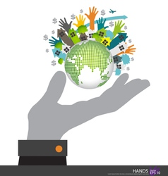 Hand holding the Earth vector image