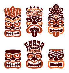 Hawaiian polynesia tiki head totem design vector