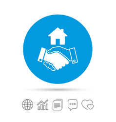 home handshake sign icon successful business vector image