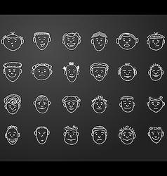 Icon set 24 mans faces vector