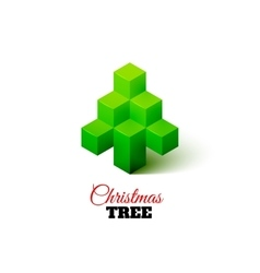 Isometric christmas tree logo vector image