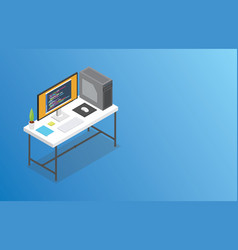 isometric workspace with big space for banner or vector image
